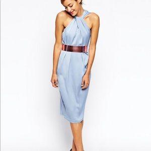 ASOS Gray-Blue Satin Halter Dress with Pink Belt